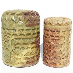 Hand Carved Onyx Lotus Canisters Set Thailand